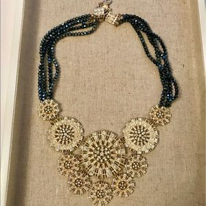 Anthropologie Sunburst Circles Crystal Necklace.